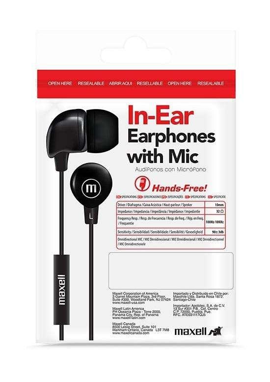 Manos Libres Maxell Inbax Audífonos Micrófono Botón Llamada 0