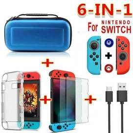 Estuche Nintendo Switch 6 En 1 Vidrio Cristal Skin Cable y Mucho Mas