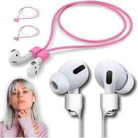 Cable Siliconado Magnetico Para Audifonos Bluetooth AirPods Rosado y Fucsia