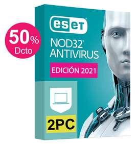 ESET Antivirus NOD32 2PCs Licencia Original 1 Año Windows 10, 8, 7, Mac (OFERTA Hoy 72 Soles)