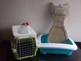 Kit Para Gato (Arenera, Guacal, Rascador Y Collar Isabelino)