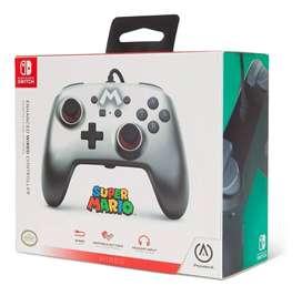 Control Nuevo Plateado para Nintendo Switch Alambrico Super Mario