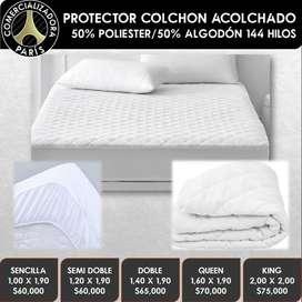 PROTECTORES DE COLCHÓN Y ALMOHADA ACOLCHADO