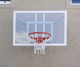 Tablero de basquet de vidrio + aro de basquet rebatible reforzado macizop +red