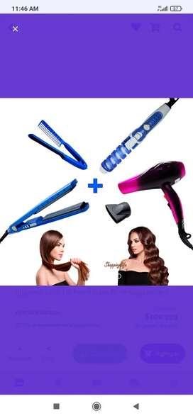 Combo Plancha digital + secador 2800W + Rizador de cabello + peine