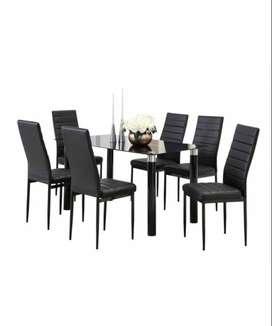 Comedor de 6 sillas con vidrio negro