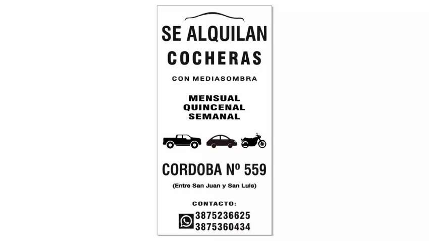 SE ALQUILAN COCHERA 0