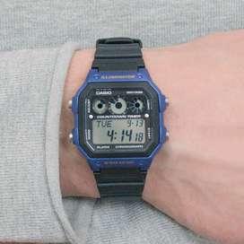 Reloj Casio iluminación de cuarzo negro con pantalla digital ref 449