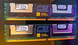 8GB 2 x Kingston 4GB 2RX4 PC2-5300F-555-11-E0 (DDR2-667MHZ) Memoria de servidor