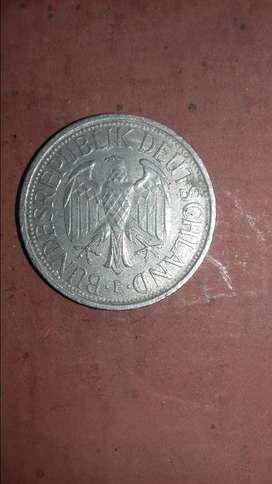 Moneda de 1 marco alemán. 1977