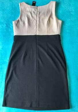Vestido Negro Coctel Clasico Bicolor