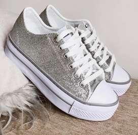 Zapatillas Glitter plataforma
