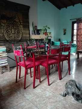 SUPER OFERTA POR MUDANZA Juego De Mesa De Caño Y Vidrio + 6 Sillas