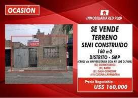 Ocacion Venta de Terreno - 160 m² - Ubicado Av Universitaria con Av Los Olivos.