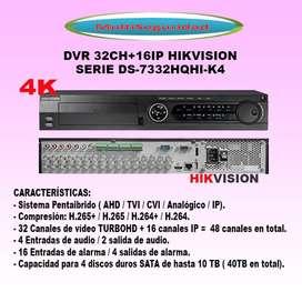 DVR 32CH 16 IP HIKVISION 4K AUDIO ALARMA