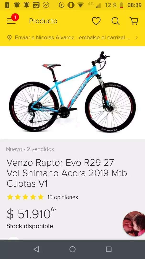 Vendo o permuto Venzo raptor rod 29 modelo 2019 0