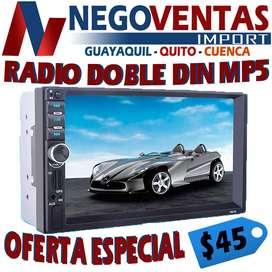 RADIO DOBLE DIN MP5 USB , AUX , SD, BT OPCION CAMARA DE RETRO  OFERTA