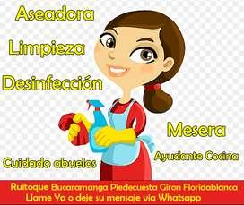Aseadora Mesera aseo desinfección apartamentos casas oficinas empresas muchacha de servicio mucama atención adulto mayor