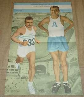 ANTIGUA LAMINA EL GRAFICO DELFO CABRERA Y ZABALA GANADORES ARGENTINOS DE LA MARATON OLIMPICA 1957