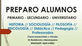 Clases particulares de PSICOLOGIA SOCIOLOGIA FILOSOFIA HISTORIA