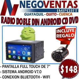 RADIO DE CARRO DOBLE DIN ANDROID CD DVD MAS CAMARA DE RETRO GRATIS