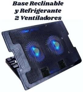 Base Reclinable y Refrigerante para Portátiles de 1 y 2 Ventiladores