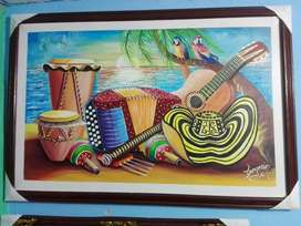 Instrumentos del vallenato al oleo