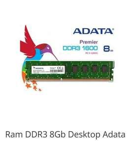 Memoria RAM 8GB DDR3 Adata 1600/12800S Para PC perfecto estado