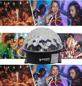 Bola Luz Led Rgb Audioritmica Media Esfera Alta Luminosidad Efectos Luces De Colores Fiestas Eventos