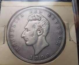 Moneda de plata de un sucre 1890