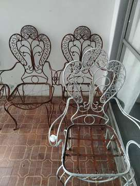 Sillones antiguos de jardín para restaurar de hierro