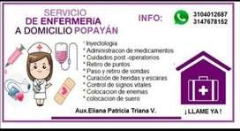 SE OFRECE SERVICIO DE ENFERMERÍA A DOMICILIO