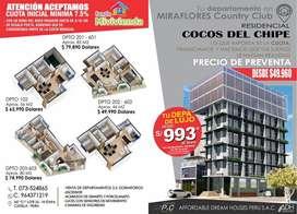 Residencial Los Cocos del Chipe en la Urb. Miraflores Country Club.