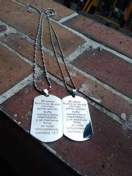 Placa cadena en acero inoxidable marcada con el texto que quieras