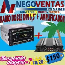 RADIO DOBLE DIN 6.5 + AMPLIFICADO DE CARRO