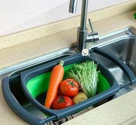 Colador silicona plegable expandible grande ahorra espacio cocina LD6111