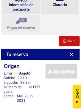 Vendo tiquete àereo lima/Bogotà
