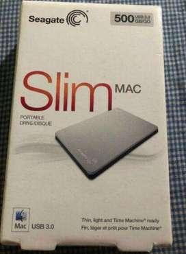 Seagate Disco Duro Portátil nuevo sin uso para productos MACINTOSH SRD00F1 500GB SlimMAC USB 3.0