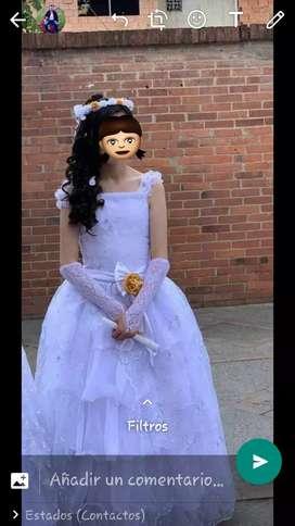 Vestido princesa para primera, comunión