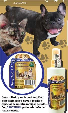 Desinfectante para áreas de mascotas, neutraliza olores y mata virus y bacterias