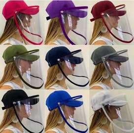 Gorras+Careta de Proteccion de Bioseguridad- con diseño y sin diseño de colores- adulto y nin@s