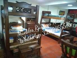 Fabricamos alcobas camarotes salas comedores madera maciza rusticos económicos y garantia de 10 años envíos NACIONALES