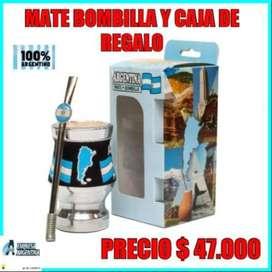 MATE BOMBILLA y CAJA DE REGALO