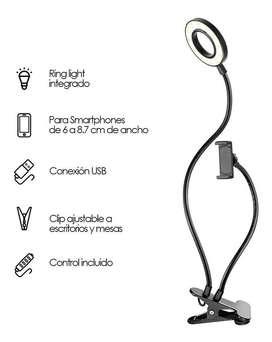 Aro De De Luz 9cm, Con Soporte Clip 3 Tipos De Luz, Control