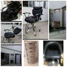peluqueria  2 silla para corte lavacabezaa canasta auxiliar 3
