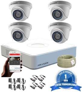 Kit Hikvision Turbo Hd Cctv Dvr 4 ch más 4 Cámaras De Seguridad