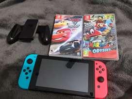 Nintendo switch con dos juegos