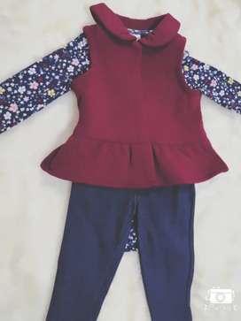 Conjunto de niña CARTER'S TALLA 9 MESES NUEVO original... Body pantalón y chaleco