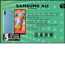 SAMSUNG A11 + TARJETA SD 32GB ($209)