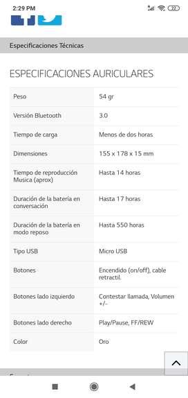 Audifonos LG hbs 900